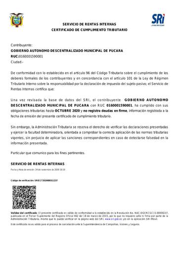 Certificado Cumplimiento Tributario Pucara